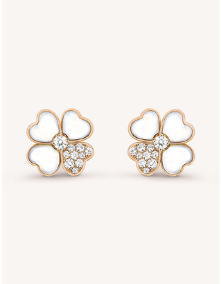 Van Cleef & Arpels Women's Pink Gold Cosmos Gold, Mother-Of-Pearl And Diamond Earrings