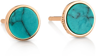 ginette_ny Ever Turquoise Disc Stud Earrings - Rose Gold