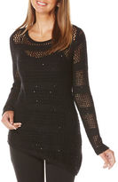 Rafaella Perforated Solid Long Sleeve Pullover