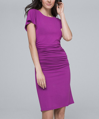 White House Black Market Women's Casual Dresses Violet - Violet Ruched Side-Drape Sheath Dress - Women & Juniors
