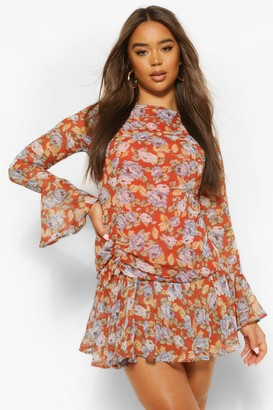 boohoo Floral Flare Cuff Mini Dress