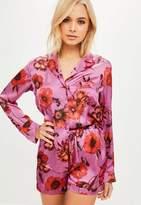 Missguided Pink Floral Satin Print Pyjama Set