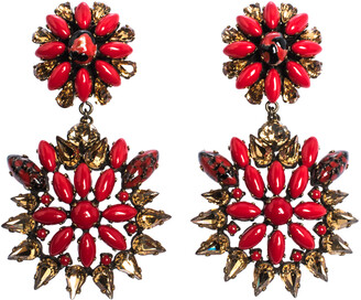 Etro Multicolor Crystal Flower Gold Tone Clip-on Drop Earrings