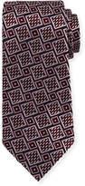 Ermenegildo Zegna Basketweave Geometric Tie, Wine