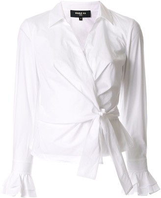 Paule Ka Long-Sleeve Wrap Blouse