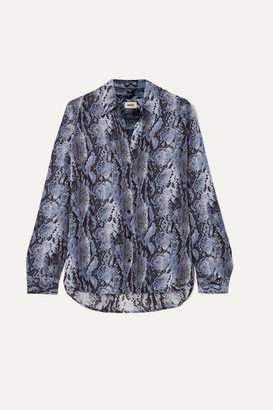 L'Agence Nina Snake-print Crepe Shirt - Blue