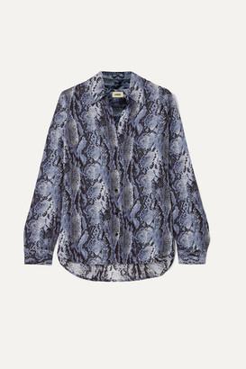 L'Agence Nina Snake-print Crepe Shirt