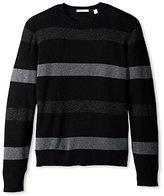 Cashmere Addiction Men's Wide-Stripe Crew-Neck Sweater