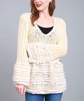 Couture Simply Women's Pullover Sweaters BEIGE - Beige V-Neck Sequin-Stripe Sweater - Women