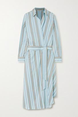 Loro Piana Belted Striped Cotton-poplin Wrap Dress