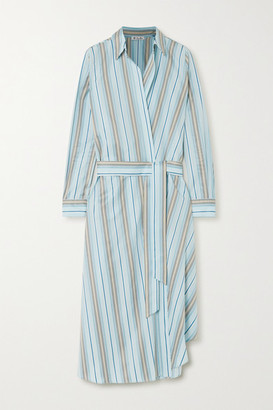 Loro Piana Belted Striped Cotton-poplin Wrap Dress - Light blue