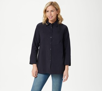Martha Stewart Stretch Poplin Bracelet-Sleeve Blouse with Bib Detail