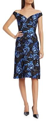 Prada Dark Rose Print Off-The-Shoulder Cocktail Dress