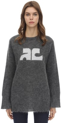 Courreges Long Sleeved Mohair Blend Sweater
