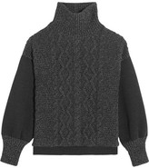 Tomas Maier Cable-knit Wool-blend And Scuba-jersey Turtleneck Sweater - Charcoal