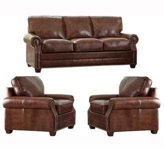 17 Stories Lyndsey 3 Piece Leather Living Room Set 17 Stories Upholstery Color: Distressed Brown