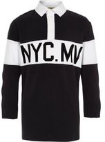 River Island Boys Black 'NYC' long sleeve rugby polo shirt