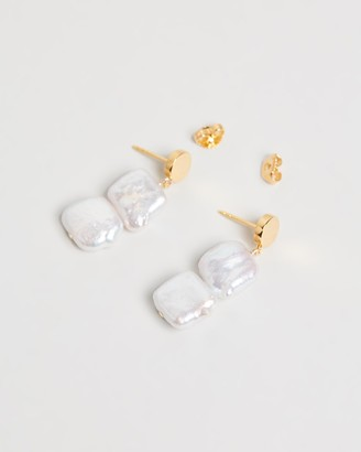 By . G Elle Mini Square Pearl Earrings