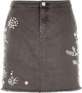 River Island Womens Grey embellished mini skirt