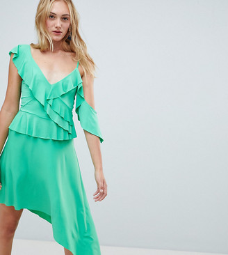 Asos Tall ASOS DESIGN Tall asymmetric ruffle soft midi dress