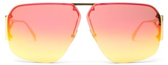Bottega Veneta Mirrored Triangle-temple Aviator Metal Sunglasses - Gold Multi