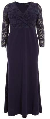 Quiz Curve Navy Lace Maxi Dress