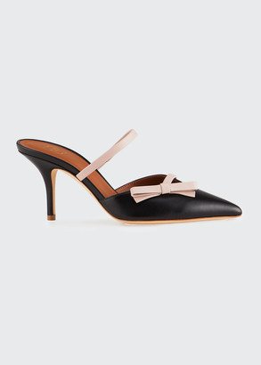 Malone Souliers Jenna Two-Tone Leather Bow Mules