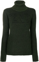 Fendi ribbed logo turtleneck sweater