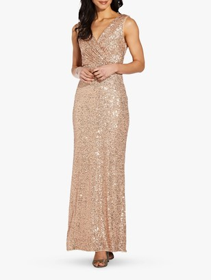 Adrianna Papell Cowl Back Sequined Gown, Rose Gold