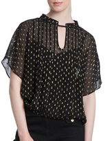 Plenty by Tracy Reese Sheer Embroidered Short Sleeve Kurta Top