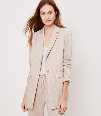 LOFT Petite Striped Long Knit Blazer