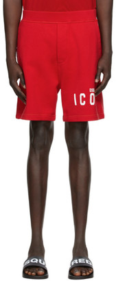 DSQUARED2 Red Relaxed Fit Icon Shorts
