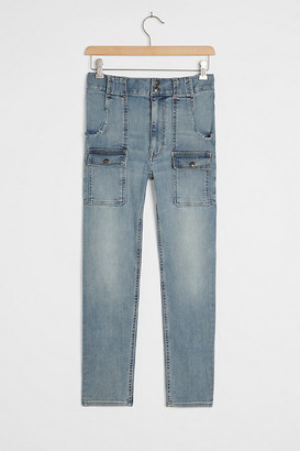 Anthropologie EDWIN Rylee Ultra High-Rise Slim Utility Jeans By in Blue Size 29