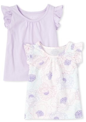 The Children's Place Baby Girl & Toddler Girl Flutter Sleeve Tank Tops Solid & Printed, 2 Pack (9M-5T)