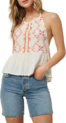 O'Neill Nikole Embroidered Halter Top
