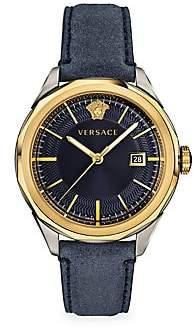 Versace Men's Glaze Blue Dial Leather Strap Watch