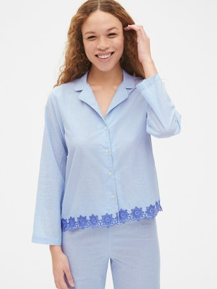 Gap Dreamwell Long Sleeve Stripe Top with Embroidered Detail