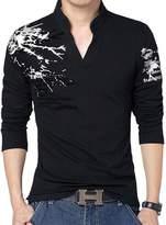 Hzcx Fashion men's long sleeve printed stand collar polo shirts pullover tees DSA003-T197-35-B- TAG 3XL