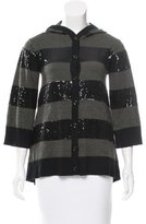 Alice + Olivia Wool Sequin-Accented Cardigan