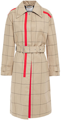 3.1 Phillip Lim Belted Printed Checked Cotton-blend Gabardine Trench Coat
