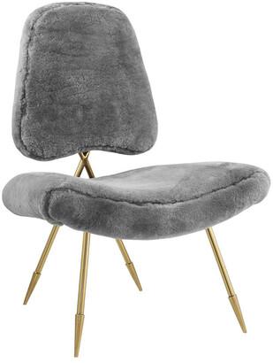 Modway Ponder Upholstered Sheepskin Fur Lounge Chair