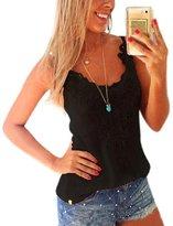Pooqdo Women Vest Shirt Cotton+Lace Camisole Top Blouse (L, )