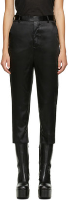 Rick Owens Black Satin Cropped Astaire Trousers