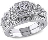 14K White Gold 0.42ctw Princess-Cut and Round White Diamond Bridal Set