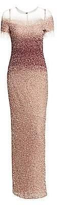 Pamella Roland Women's Ombré Crunchy Sequin Column Gown
