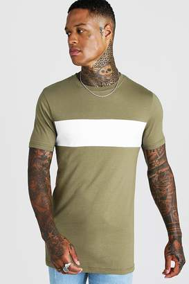 boohoo Colour Block Muscle Fit T-Shirt In Longline