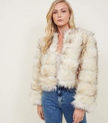 New Look Cream Pelted Faux Fur Coat