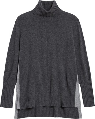 Zella Wool & Cashmere Colorblock Turtleneck Sweater