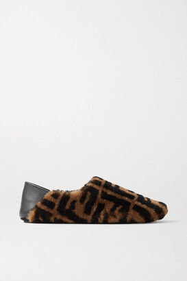 Fendi - Leather-trimmed Logo-print Shearling Collapsible-heel Slippers - Brown