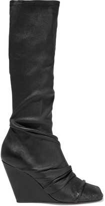 Rick Owens Gathered Distressed Stretch-leather Wedge Sock Boots